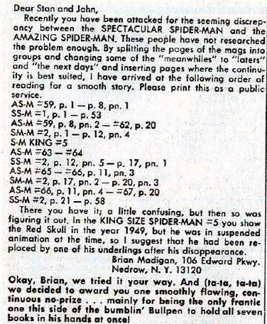 Marvel continuity letter