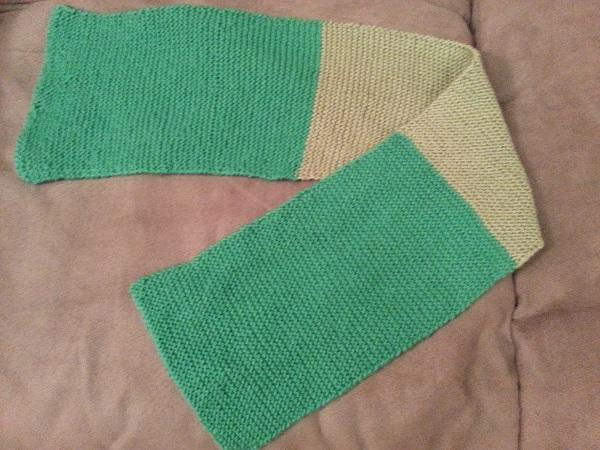 garter stitch scarf in 2 colors - nylon/acrylic blend yarn and a acrylic/bamboo blend yarn